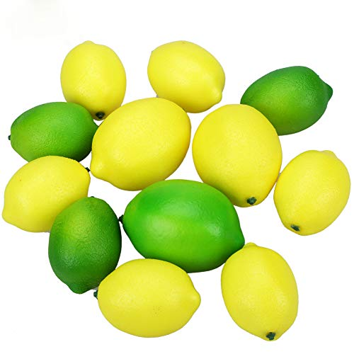 Felice Arts 12pcs Artificial Lemons Plastic Lifelike Faux Simulation Fake Fruit for Home Kitchen Lemonade Party Photogratpy Props Artificial Limes for Bowl Bottle Vase (Green and Yellow)