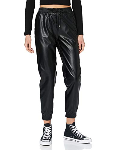 ONLY Damen ONLMADY-CALLEE MW Faux Leather CC PNT Hose, Black, M/32