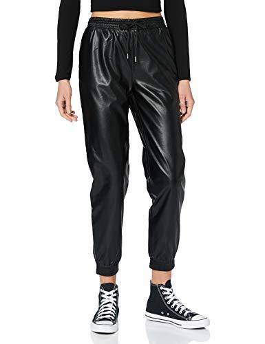 ONLY Damen ONLMADY-CALLEE MW Faux Leather CC PNT Hose, Black, M/32