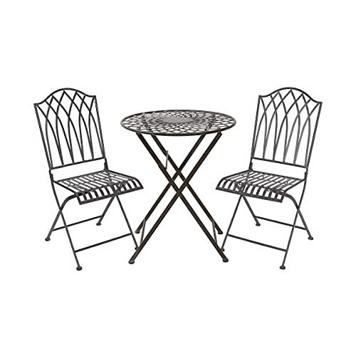 Butlers Mandala Garden - Bistrotisch im Vintage Stil - dunkelbrauner Tisch mit Stühlen aus Eisen - für Garten und Balkon