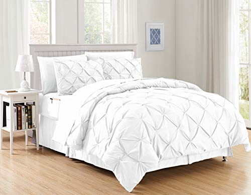 Elegant Comfort Luxury Best, Softest, Coziest 8-Piece Bed-in-a-Bag Comforter Set on Amazon Silky Soft Complete Set Includes Bed Sheet Set with Double Sided Storage Pockets, King/Cal King, White