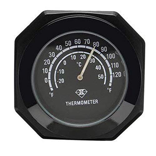 Moto Manillar Montaje Noctilucente Termómetro Reloj Aleación luminosa Temperatura Indicador de temperatura Impermeable para Harley Negro
