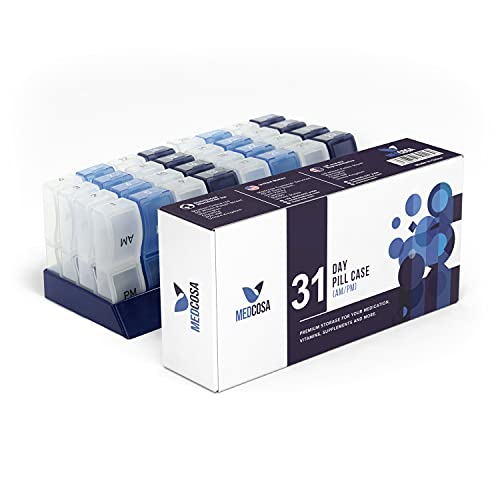 Medcosa - Pastillero para 31 días | Se acabó el rellenar las pastillas constantemente | Organizador mensual de medicamentos | Pastillero con 31 compartimentos para suplementos (AM y PM)
