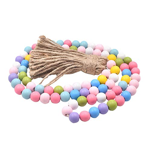 QPY Easter Wood Bead Garland Tassel Garland Farmhouse Rustic Beads for Easter Home Decor