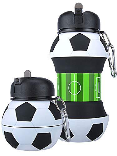 Mude-Borraccia Calcio-550 millilitri-Divertente e Indistruttibile, In Silicone Apribile e Richiudibile, Antigoccia-Senza BPA-Per Ragazzo e Ragazza-Idea regalo e Scuola