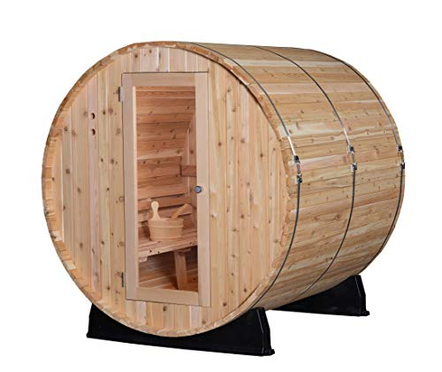 Almost Heaven Saunas | Quality Indoor/Outdoor Sauna Kit | Made in The USA | Detox & Weight Loss | Natural Wellness | Therapeutic Steam Spa (Pinnacle 4-Person Barrel Sauna, Rustic Cedar)