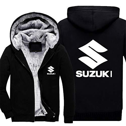 Herren Sweatshirt Suzuki Hoodies Pullover Langarm Fleece Jacke Full Zip Mäntel - Herbst Winter Warmer Dicker Pullover Outwear Tops - Teen Geschenk,Schwarz,XL