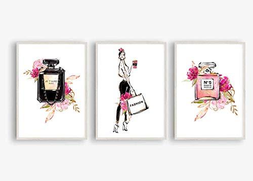 Din A4 Kunstdruck 3er-Set - ungerahmt - Shopping Girl Model Mode Fashion Parfum Flakons Luxus Beauty Druck Poster Bild #2