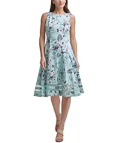 Calvin Klein Women's Illusion Sleeveless Floral Midi Dress Seaspray Multi 6