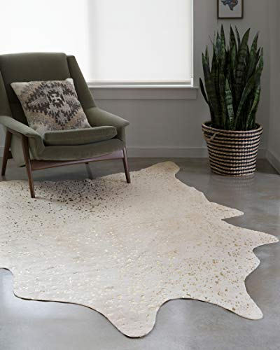 """Loloi II Bryce Collection Faux Cowhide Area Rug, 3'10"""" x 5', Ivory/Champagne"""