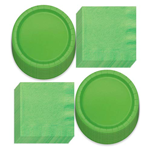 Solid Lime Green Paper Dinner Plates and Luncheon Napkins, Green Party Supplies and Table Decorations (Serves 16)