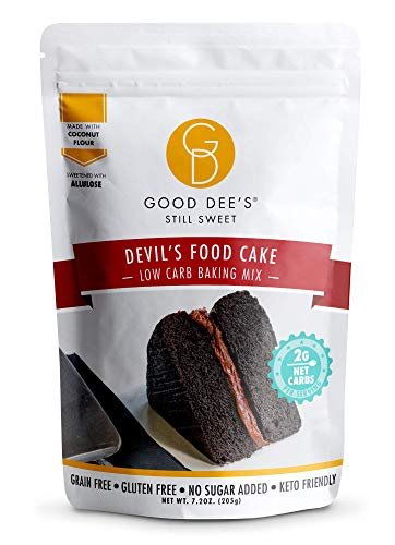 Good Dee's Devil's Food Cake Mix   Low Carb Keto Sugar Free Cake Mix (2g Net Carbs, Per Serving), Grain-Free, Gluten-Free & Sugar Free Cake Mixes for Diabetics, Atkins & Weight Watchers
