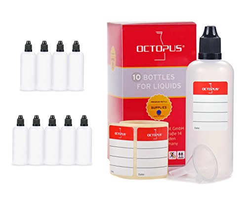 Octopus Bottigliette per liquidi 100 ml con Imbuto + Etichette, ad Esempio per liquidi per Sigarette elettroniche, Dispenser a Gocce + Tappo Scuro con Sistema di Sicurezza per Bambini
