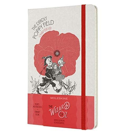 Moleskine - Taccuino in Edizione Limitata Il Mago di Oz, Notebook a Tema Campo di Papaveri, Layout a Righe, Copertina Rigida in Tessuto, Formato Large 13 x 21 cm, Colore Rosso, 240 Pagine