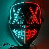 Máscara resplandeciente Máscara de Halloween LED Halloween Disfraz LED Brillante Fiesta de vacaciones Carnaval Disfraz de Navidad Cosplay Máscara de miedo brillante (azul hielo+rojo)