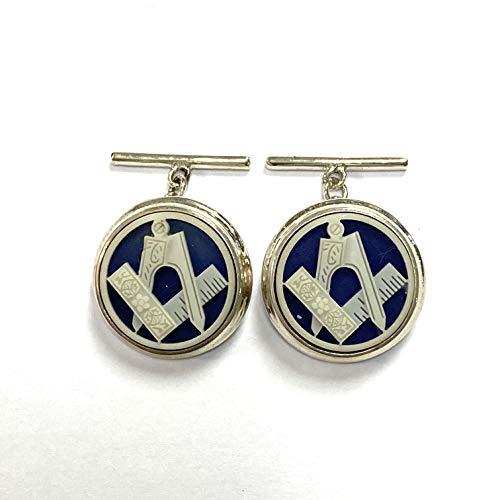 Freemasons Masonic Enamel Cufflink 925 Sterling Silver Mens Gift