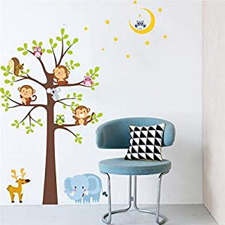 A/N Cute Monkey owlets Elephant Tree Wall Decals Kids Rooms Bedroom Home Decor Cartoon Animals Wall Stickers PVC Mural Art...