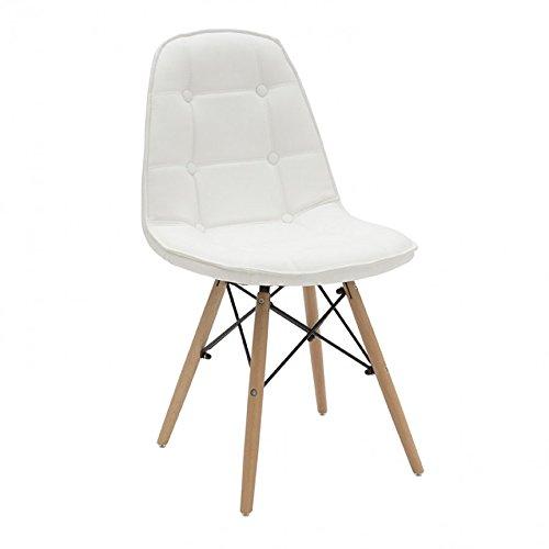 Bois & Design Chaise Design Moderne en Cuir synthétique avec Boutons et Pieds en hêtre Blanc