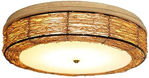 Lámpara de techo de ratán hecha a mano de la vendimia, Dormitorio de la personalidad Luces de techo de la casa de té