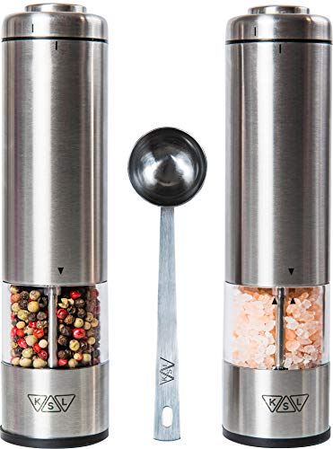 KSL Electric Salt and Pepper Grinder Set (Batteries included) - Automatic Adjustable Shakers - Stainless Steel Powered Spice Mills - Battery Operated Kitchen Peppermills w/ Light - Housewarming Gift