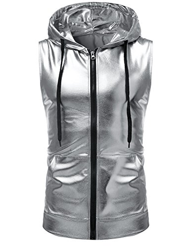 ZEROYAA Mens Hipster Metallic Zip Up Sleeveless Hooded Vest T Shirt with Kangaroo Pocket Z86 Silver Medium