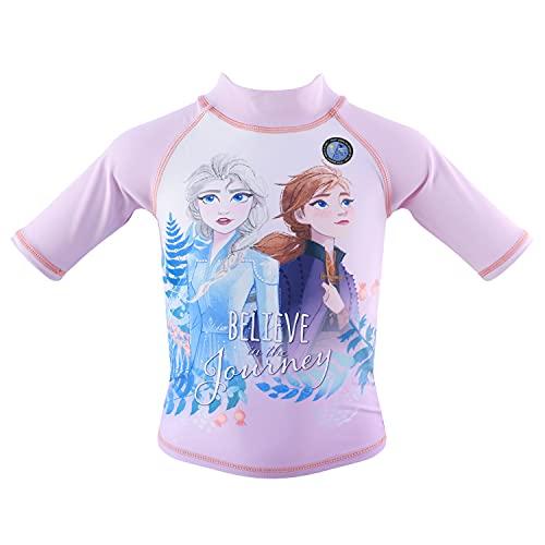 Frozen Movie - Niña – Traje de baño, camiseta de natación, playa, piscina de manga corta, tipo traje anti-UV +40 – Elsa y Anna – Producto original 1851 Purple 8 años