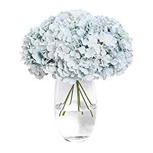 Tifuly 12pcs Artificial Hydrangea Flowers Heads Silk Flower with Stems for Home Party Wedding Decoration Bouquets DIY Floral Decor