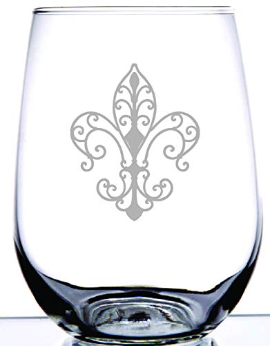 Fleur De Lis Design | Precision Laser Etched on 15 Ounce Clear Stemless Wine Glass