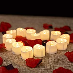 Homemory LED Candles, 12pcs Battery Tea Lights with 100pcs Artificial Rose Petals, Long Lasting LED Tea Lights, Ideal for Propose, Wedding, and Valentine's Day
