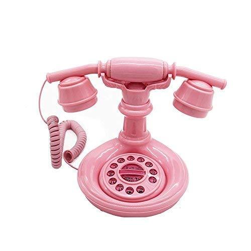 GANE Teléfono Fijo con Cable Retro Decorativo Teléfono Fijo Rosa Princesa Dibujos Animados Teléfono Fijo