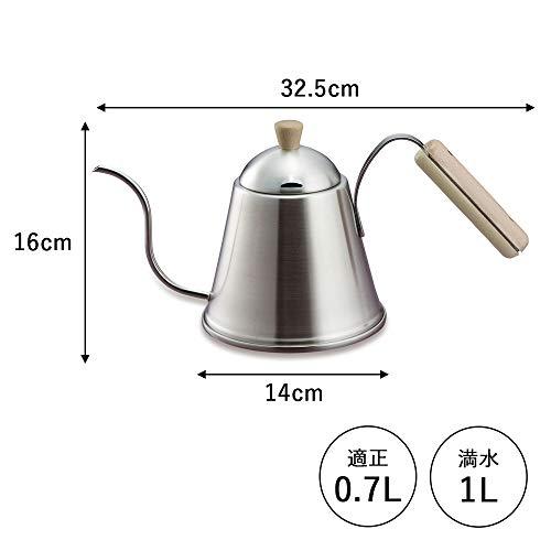 下村企販珈琲考具ドリップポットITTEKI700ml木ハンドルIH対応40437