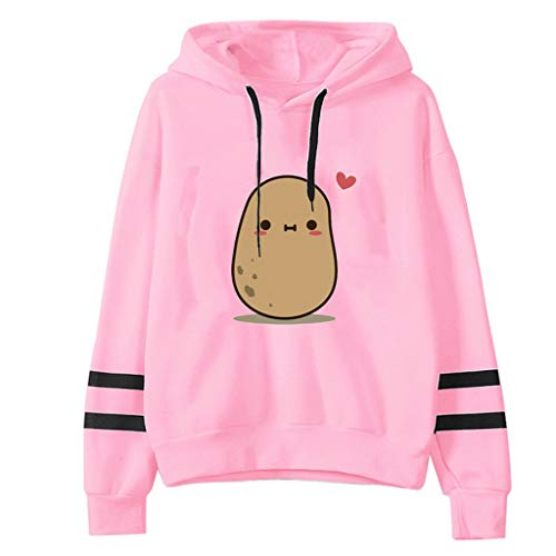 Casual Long Sleeve Sweatshirt,QueenMM Cute Novelty Crewneck Pullover Jumper Top Funny Potato Print Striped Hoodies Tops Pink