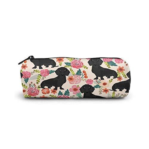 Estuche para lápices Doxie Floral Abrigo negro Raza de perro Dachshunds Crema...