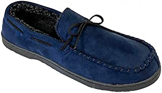 Roundtree & Yorke Men's Whipstitch Moccasin Slippers, Navy Blazer Blue (L 11-12)