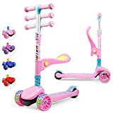 TX Kinderroller Scooter,Kinder Roller mit Abnehmbarem Sitz und PU LED große Leuchtenden Räder, 3 Höhenverstellbarer und Falten Lenker Kinderscooter für Kinder ab 2-10 Jahre-Rosa