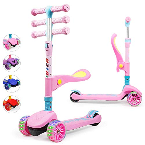 Kinderroller Scooter,Kinder Roller mit Abnehmbarem Sitz und PU LED große Leuchtenden Räder, 3 Höhenverstellbarer und Falten Lenker Kinderscooter für Kinder ab 2-10 Jahre (Rosa)