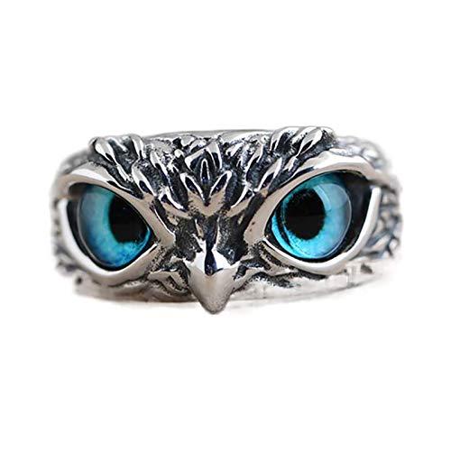 Anillo de plata de ley 925 con ojo de demonio y búho Regalo de la joyería del anillo de declaración del anillo ajustable abierto animal retro (2PCS)