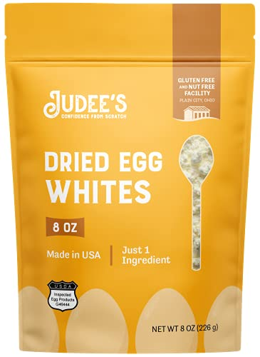 Judee's Dried Egg White Protein Powder 8 oz - Pasteurized, USDA Certified, 100% Non-GMO, Gluten-Free & Nut-Free - Just One Ingredient - Made in USA
