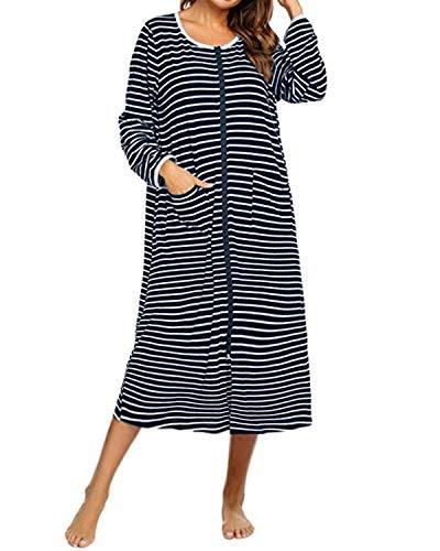 SUNNYME Damen Bademäntel mit Reißverschluss Baumwolle Lange Morgenmantel Nachthemd Streifenmuster Nachtwäsche Marine XXL