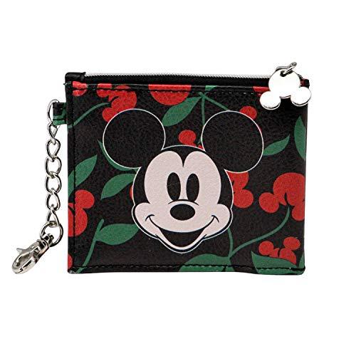 KARACTERMANIA Mickey Mouse Cherry-Monedero Tarjetero, Negro
