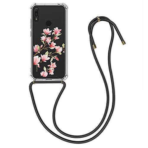 kwmobile Hülle kompatibel mit Huawei Y6 (2019) - mit Kordel zum Umhängen - Silikon Handy Schutzhülle Magnolien Rosa Weiß Transparent