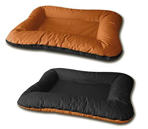 BedDog® 2in1 hondenmand VERA, dubbelzijdig vierkant hondenkussen, grote hondenbed, hondensofa, wasbaar, met afneembare hoez, XL oranje/zwart