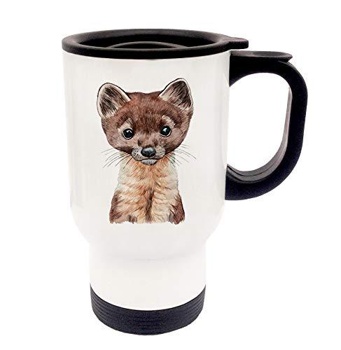 ilka parey wandtattoo-welt Tasse Emaille Becher oder Thermobecher Kaffeebecher mit Marder Kaffeebecher Marder-Motiv Geschenk pb015 - ausgewähltes Produkt: *Thermobecher