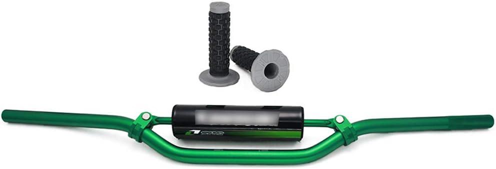Universal Dirt Bike Handle Bar Tubes Handlebar Cross Bar with Pad Grips Set for Kawasaki KX65 KX85 KX125 KX250 KX500 7//8 22mm Green Handlebars Bars