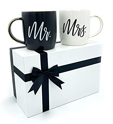 Triple Gifffted Mr and Mrs Mugs, Gifts For The Couple, Wedding, Engagement, Women, Him, Anniversary, Bride and Groom, Gift For Newlywed, Couples, Christmas, Black White Coffee Set, His Hers Cups