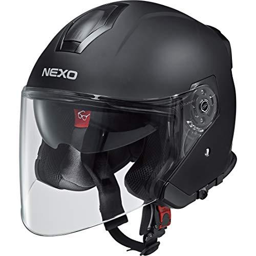 Nexo Jethelm Motorradhelm Helm Motorrad Mopedhelm Jethelm Travel 2.0 mattschwarz XS, Unisex, Chopper/Cruiser, Ganzjährig, Thermoplast, matt schwarz