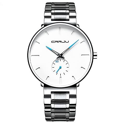 XIAN Reloj Minimalista para Hombre Reloj de Cuarzo de Moda con Correa de Acero Inoxidable Reloj Deportivo Impermeable,Silver with White Surface