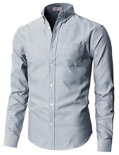 H2H Men's Long Sleeve Non-Iron Button Down Dress Shirt Navy US S/Asia M (KMTSTL0521)