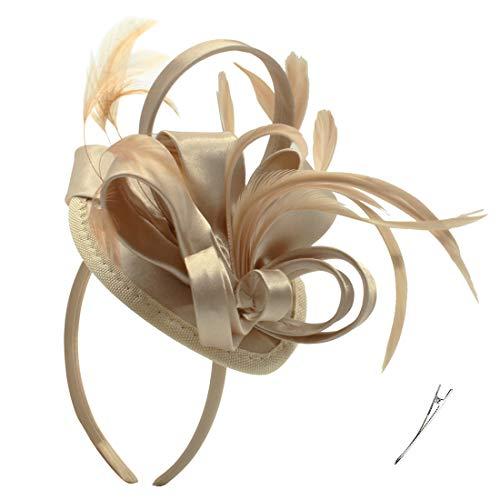 Felizhouse Satin Feder Fascinator Hüte Stirnband für Frauen, Hochzeit, Cocktail, Teeparty, Royal Ascot Kirche Kopfstück, Kostüm Haarclip Zubehör Gr. One size, #1A Satin Golden