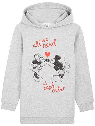 Disney Sudadera Niña, Vestidos Sudadera con Mickey Mouse y Minnie Mouse, Sudaderas con Capucha, Merchandising Oficial Regalos para Niñas y Adolescentes (Gris, 9-10 Años)